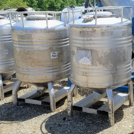 (5) used 800 Liter (~200 gallon) Stainless Steel Sanitary tanks/Totes. Built by Sharpsville Container. 40