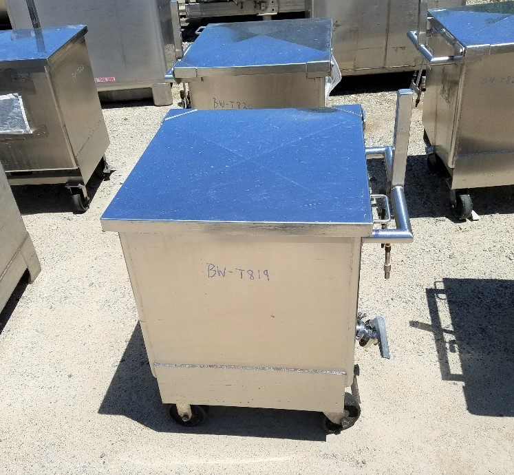 (8) approx. 60 Gallon Stainless Steel Sanitary Portable Tanks/Totes. Has provision to mount agitator/mixer. 26