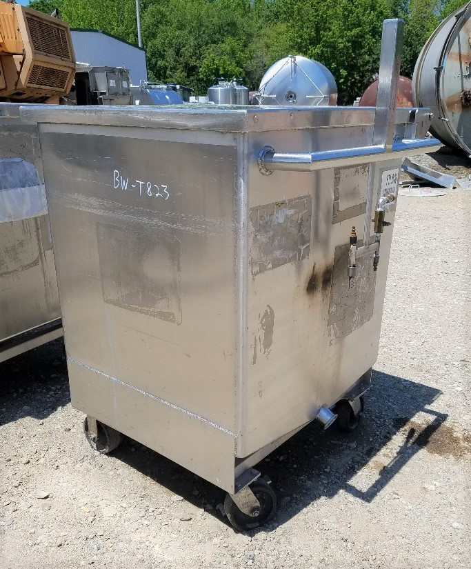(5) approx. 130 Gallon Stainless Steel Sanitary Portable Tanks/Totes. Has provision to mount agitator/mixer. 31