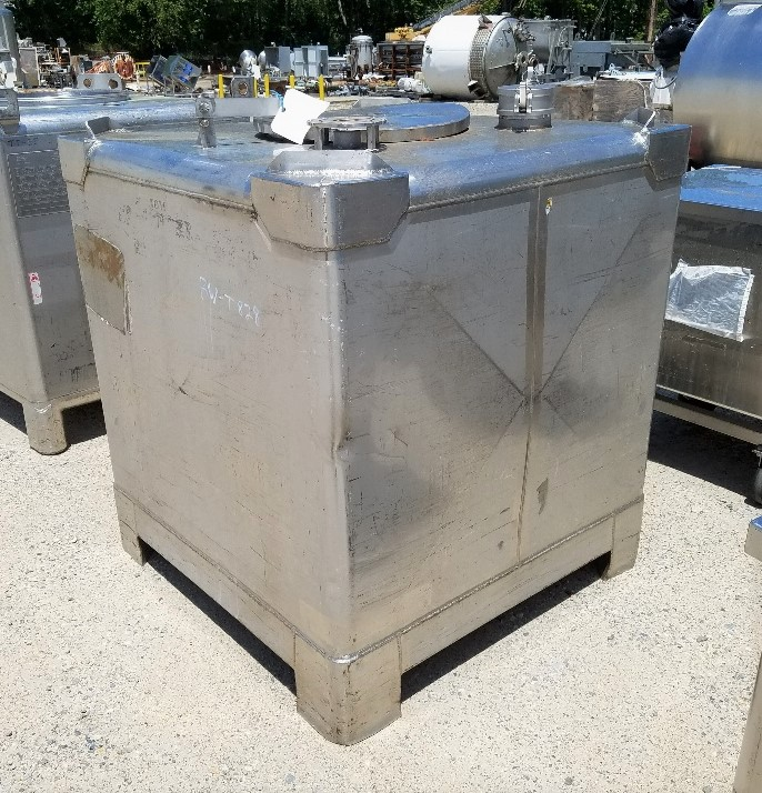 ***SOLD*** used 350 Gallon Stainless Steel MUELLER Tote/Tank.  44