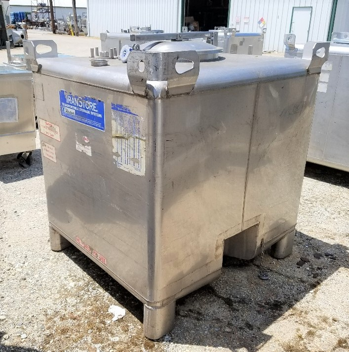 used 350 Gallon Stainless steel IBC Tank/Tote. Built by TranStore, Intermediate Bulk Containers (IBC). 48