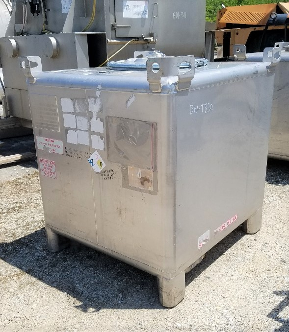 ***SOLD*** (2) used 350 Gallon (1,325 Liter) Stainless steel IBC Tank/Tote. Built by Tank Services, Inc. Rated UN31A/Y for the transportation and storage of hazardous chemicals. Rated Gross Weight: 6,000 lbs. 42