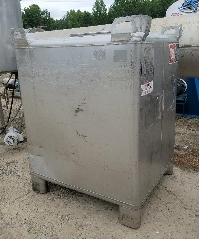 used 450 Gallon (1,325 Liter) Stainless steel IBC Tank/Tote. Built by Clean Earth Enviro Grp Inc. Rated UN31A/Y for the transportation and storage of hazardous chemicals. Rated Gross Weight: 6,689 lbs. 42