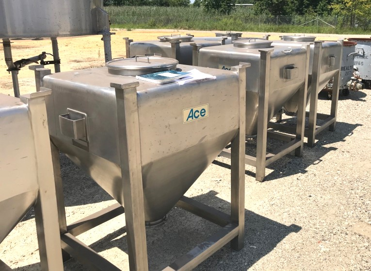 (20) used 500 Liter (17 Cu.Ft) Sanitary 316 Stainless Steel Totes. Stackable. Equipped with dump brackets on 2 sides.  Built by Ace. 8