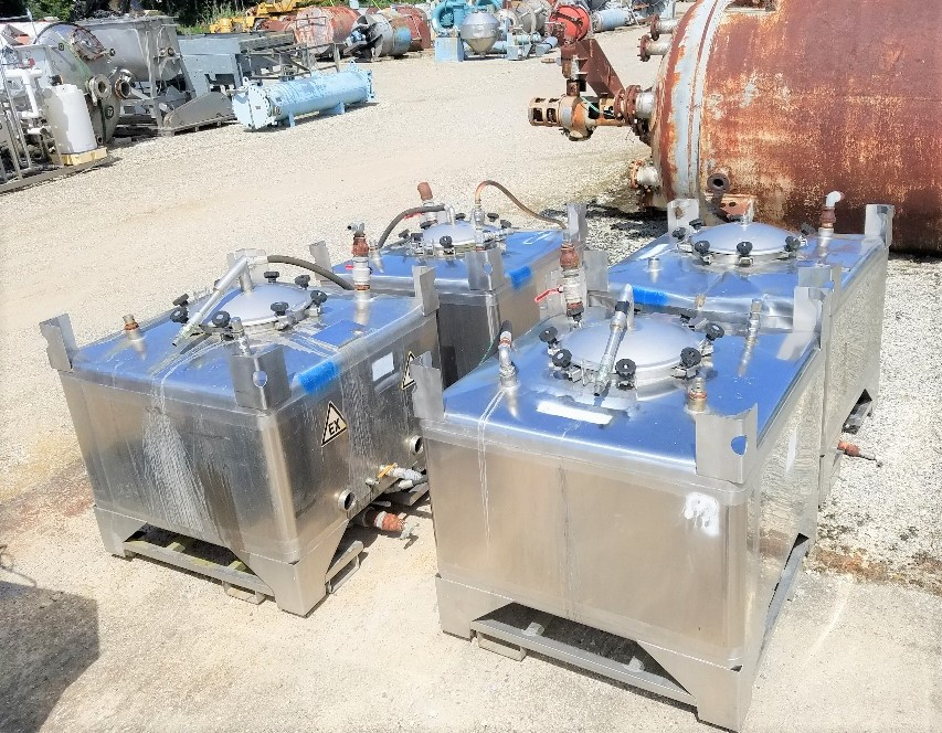 (6) used 250 gallon (1000 L) Stainless Steel Tote Tanks. 45