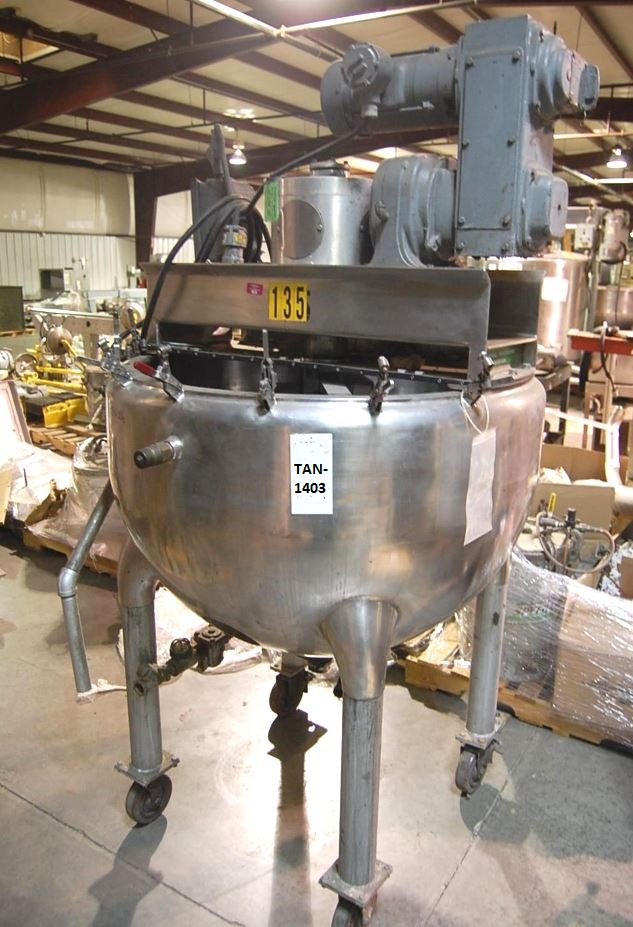 used 100 Gallon Hamilton Stainless Steel Double Motion Jacketed Mix Kettle. Style SA, Vertical, 36