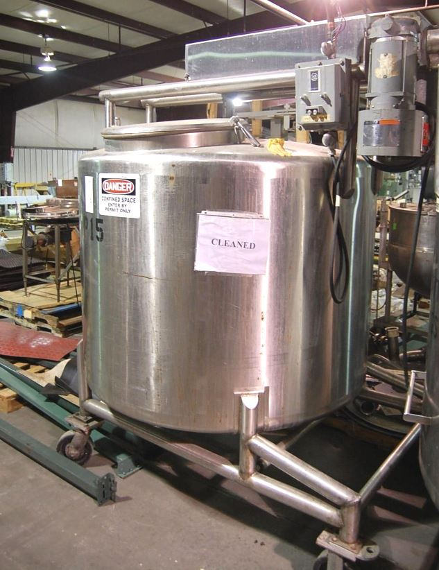 (2) used 500 Gallon Stainless steel Mix Tanks.  Dairy Craft Model 74J. 5' Dia. x 3'6