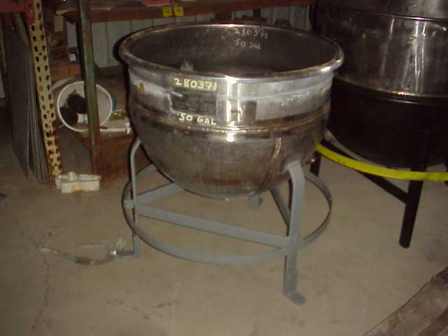 50 Gallon Stainless Steel Kettle. Jacketed Kettle.  Stainless Steel jacket rated 40 PSI.  1.5
