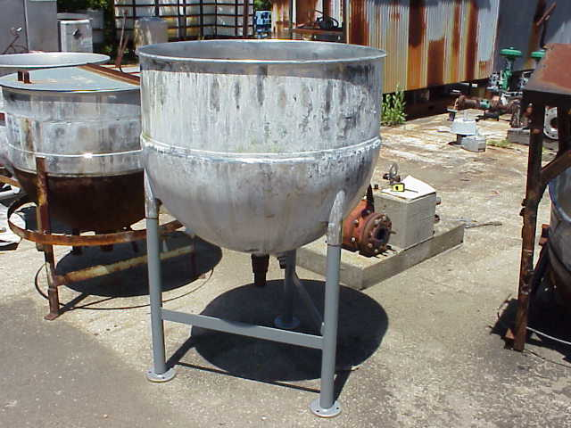 100 Gallon Groen model N100SP Stainless Steel Sanitary jacketed Kettle. SS jacket rated 45 PSI.  Has 2