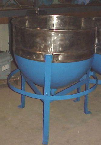 50 Gallon Stainless Steel sanitary jacketed Kettle/tank. CS jacketed rated 40 PSI @ 290 degF.  Has 1.5