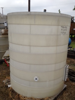 Qty. (2) Each: 600 gallon Poly storage tank.  Open top, cone bottom.