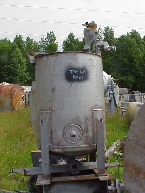 100 gallon Stainless Steel mix tank.  Agitator is air operated clamp-on mixer.