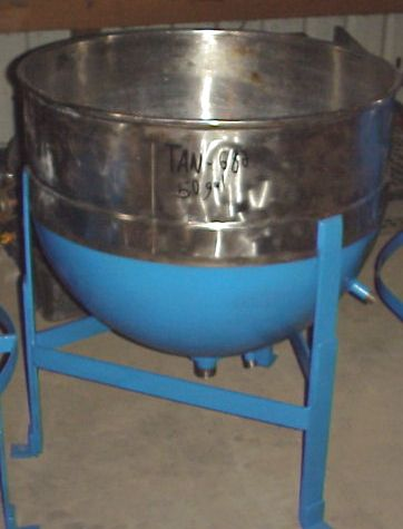 50 gallon sanitary stainless steel jacketed kettle/tank.  CS jacket rated 40 PSI @ 290 degF.
