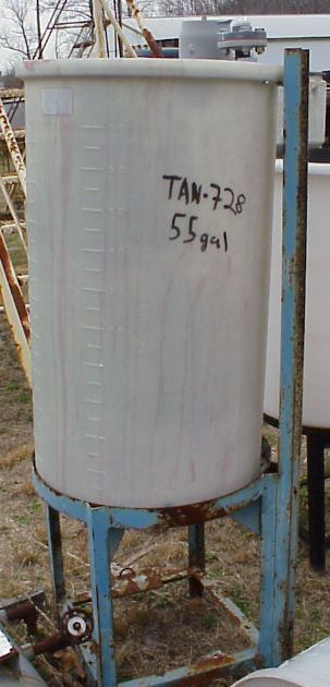 Qty. (2) Each: 55 gallon, poly storage tanks.  Cone bottom.