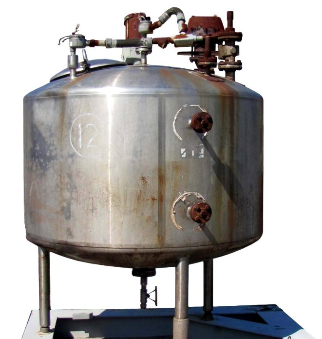 400 gallon, Vertical, Stainless Steel mixing tank.  Dish bottom, dish top.  Agitator is top mounted.  Mounted on steel frame.