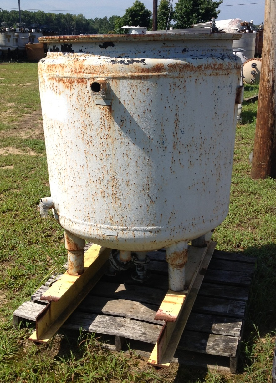 200 Gallon Glass Lined, Jacketed vessel/reactor body. No Lid. No Nameplate. Has bottom valve.