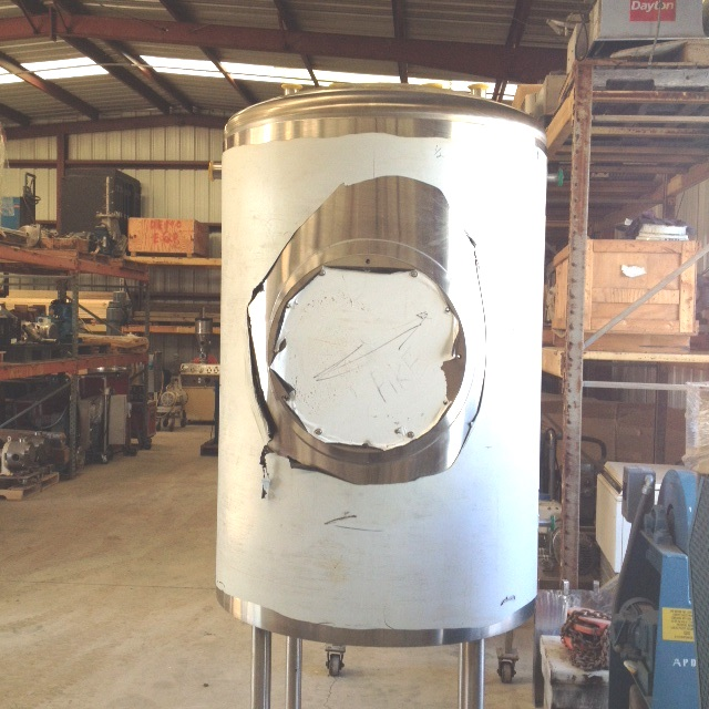 UNUSED, Approx. 200 Gallon Sanitary construction tank.  Vertical.  Dish top and bottom mounted on 3' legs. Approx. 34.5