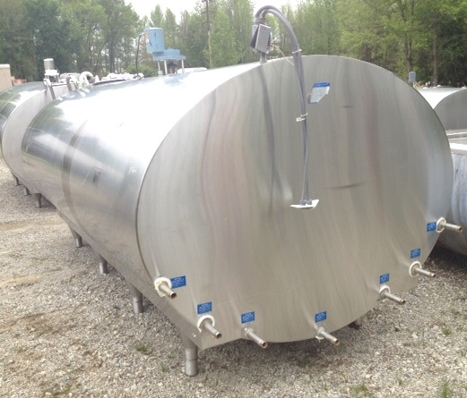used 2000 Gallon Mueller horizontal Jacketed, sanitary Mix tank. Model OP. Jacket rated 265 PSI @ 170 F. Top mounted mixer. Dimensions are approx. 7'8