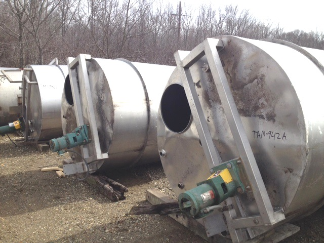 used 1500 Gallon Stainless steel Mix tank with Flat top, Cone bottom.  6'D X 7'8
