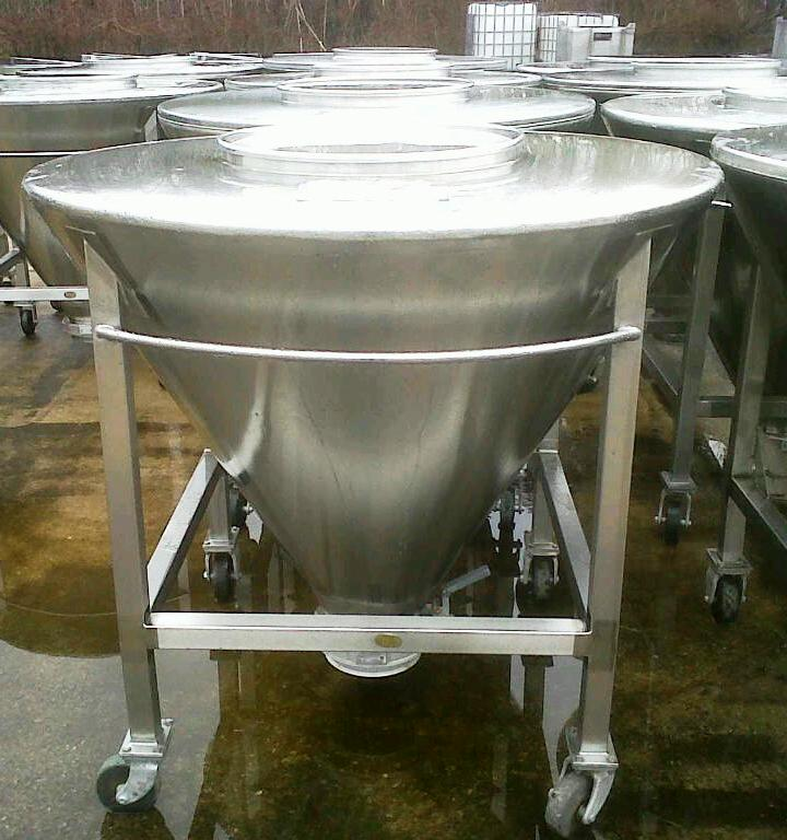 (5) used 16 Cu.Ft. (125 Gallon) Sanitary Stainless Steel Conical Tote Tanks. Approx. 52