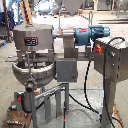 ***SOLD*** used 5 gallon LEE model 5CDM9MT jacketed mixing Kettle. Has double motion sweep mixer with scraper blades.  Tilt out agitator and tilt kettle. Jacket rated 40 PSI @ 300 Deg.F.  Includes control panel with speed controller (0-60 rev/min.). Last used in sanitary application.  316 Stainless Steel.