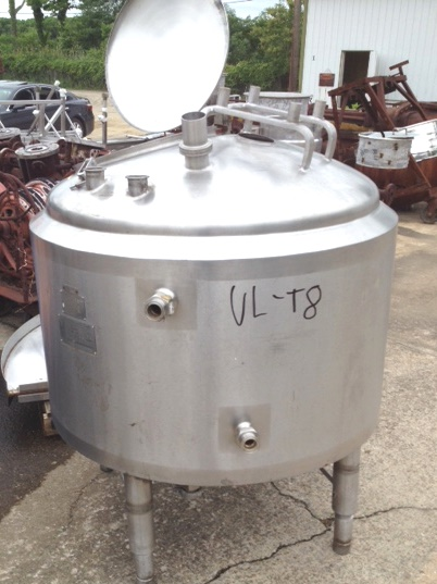 ***SOLD*** used approx. 130 gallon Crepaco stainless steel Jacketed tank. Jacket rated 75 PSI @ 315 Deg.F.. 3'4