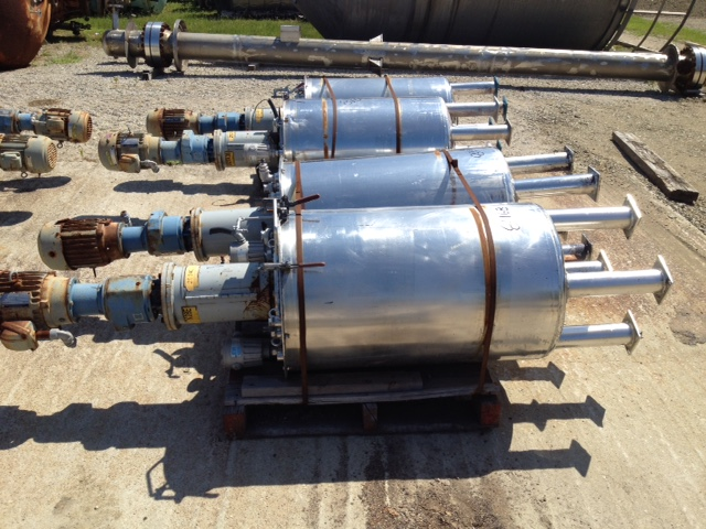 ***SOLD*** (3) Each Used approx 70 Gallon Stainless Steel Mix Tanks. 2' dia x 3' straight side (8'2