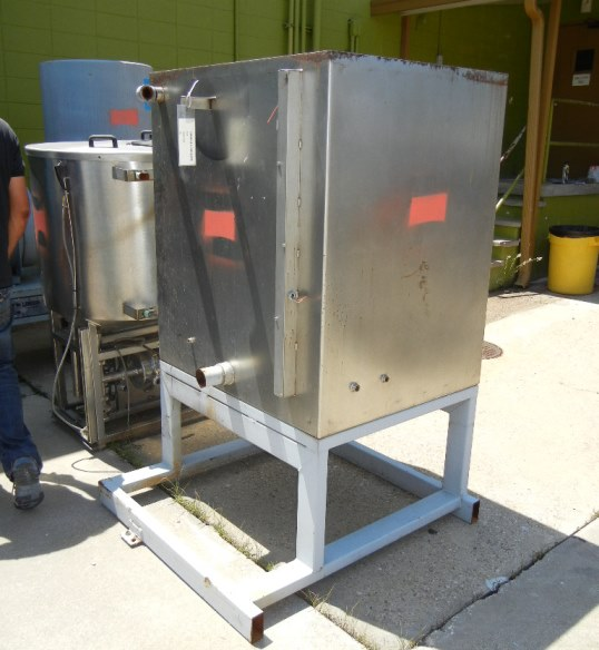 used 300 Gallon Square Stainless steel tank. 43
