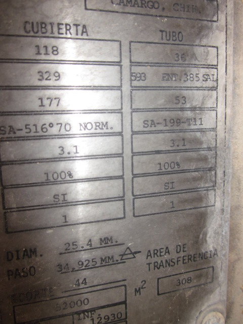 3315 Sq.Ft. (308 Sq.M.)Heat Exchanger. (1081) Tubes @ 1\