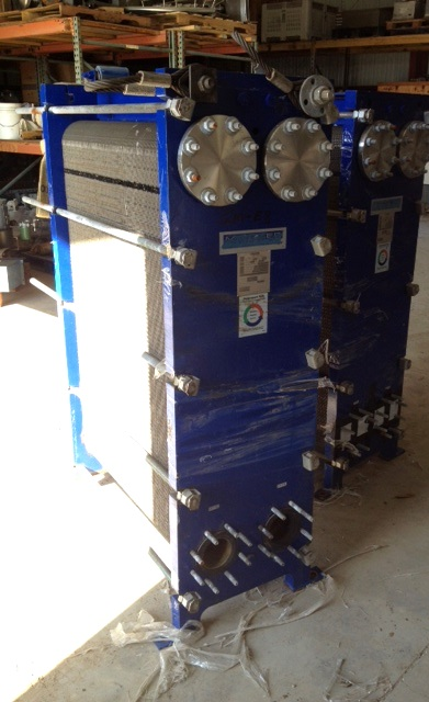~1500 sqft MUELLER model AT40 B-20, stainless steel plate heat exchanger.  4\