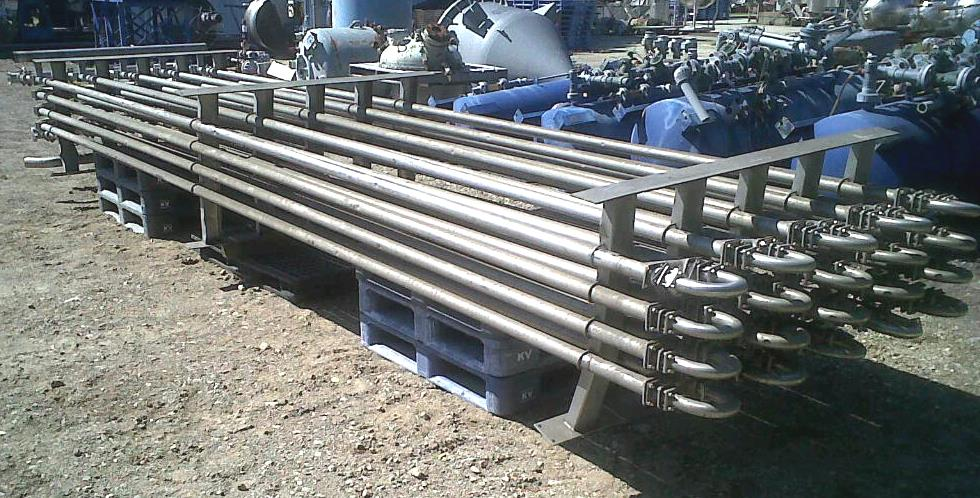 Used FELDMEIER Tube in Tube Heat Exchanger/pasteurizer. Stainless Steel Sanitary construction. Approx. 300 Sq.Ft.. Qty (40) Each: 2