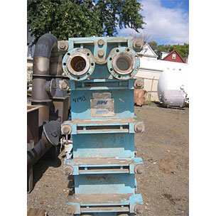 Used approx. 275 Sq.Ft. APV Crepaco, Titanium, Plate Exchanger, Model # SR6-GLM-T. Rated for 100 psi @ 200 F. (37) 20
