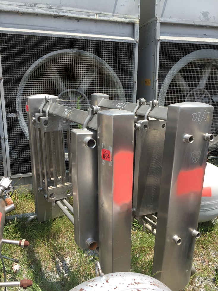 Qty 2 Each: used Stainless Steel Plate Heat Exchanger built by CP Heat Exchanger. No plates available. They are (18) total plates approx. 36