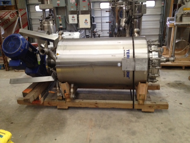 ***SOLD***used 47 ft2 (4.4 M2) Terlet Terlotherm Model T2-6 Scraped Surface Heat Exchanger, wiped film.  316L Stainless steel shell rated 145 PSI.  304 SS Jacket rated 87 psi.  Product volume 34 gallon (130 Liter).  Unit equipped with 6 wiper arms with 48 blades. Driven by 22 Kw (30 HP, 230/460/60/3, 78 RPM output motor.  The machines have the latest updates on sanitary hygienic design including USDA Dairy guidelines. Applications include: Heating, aseptic cooling, deep cooling, crystallization, tempering, sterilization, pasteurization, polymerization, gelling, setting starch mixtures, coulli preparation. Last used for cooling sauces in food plant (sanitary). Can also be used for heating.