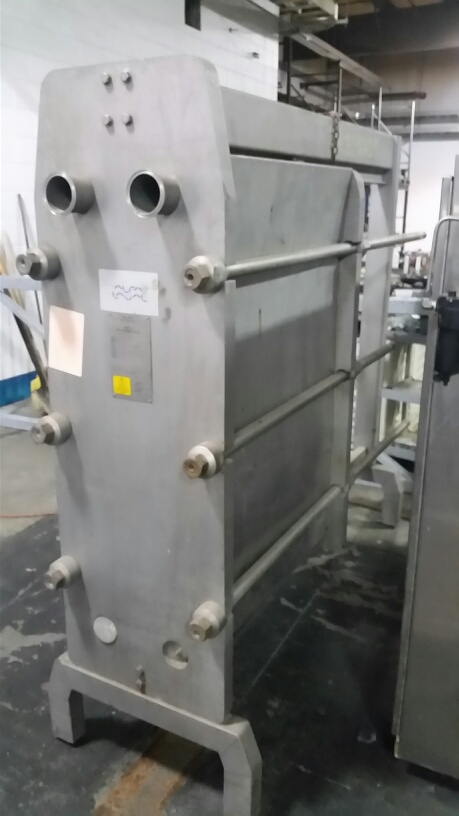 Used Alfa-Laval 687 Sq.Ft. Plate Heat Exchanger. Stainless Steel with tri-clamp sanitary fittings. Rated 232 PSI @ 230 Deg.F.  Model FRONT8-FRH. With approx. (170) .60 mm Plates. Last used in Food Plant.