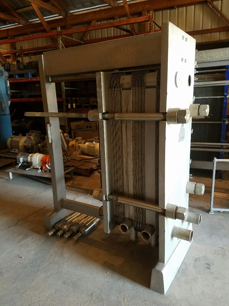 used 220 Sq.Ft. ALFA LAVAL Plate Heat Exchanger/Pasteurizer.  Type H7-RC.  Unit has (44) 48