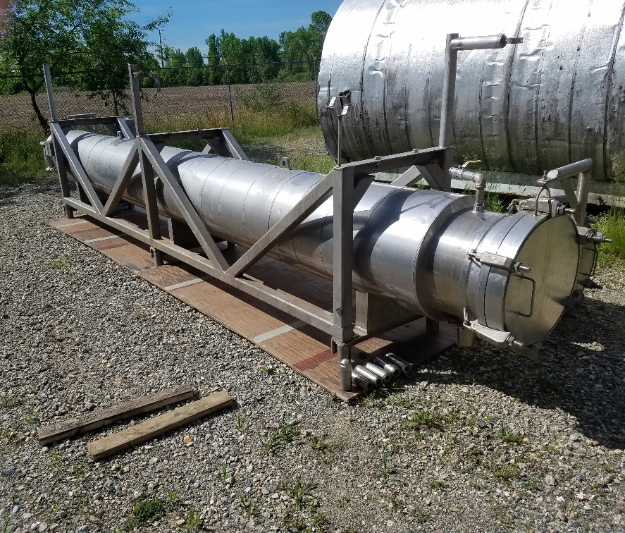 used 900 Sq.Ft. Shell and Tube Heat Exchanger. Built by Enerquip. Sanitary 304L Stainless Steel. TUBES: (236) 3/4