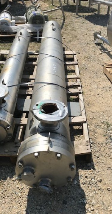 used 175 Sq.Ft. Allegheny Bradford Stainless Steel Shell and Tube Heat Exchanger. Vacuum Rated Sanitary Construction. 316 SS Tubes rated 150/FV @ 350 Deg.F. (-20).  304 SS Shell rated 150/FV @ 350 Deg.F. (-20). NB # 4137. Shell is insulated 12