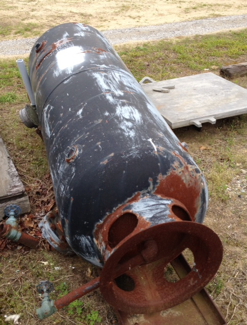 120 gallon carbon steel air receiver pressure vessel. Head and Shell thickness: .138