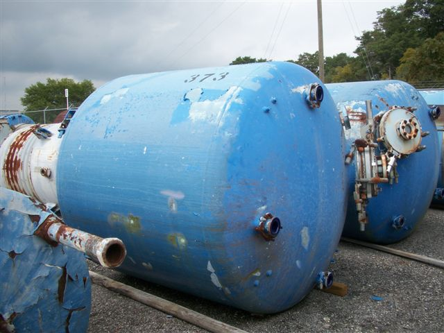 Used Pfaudler 2000 gallon vertical #5014 chemstor glass lined tank.  84