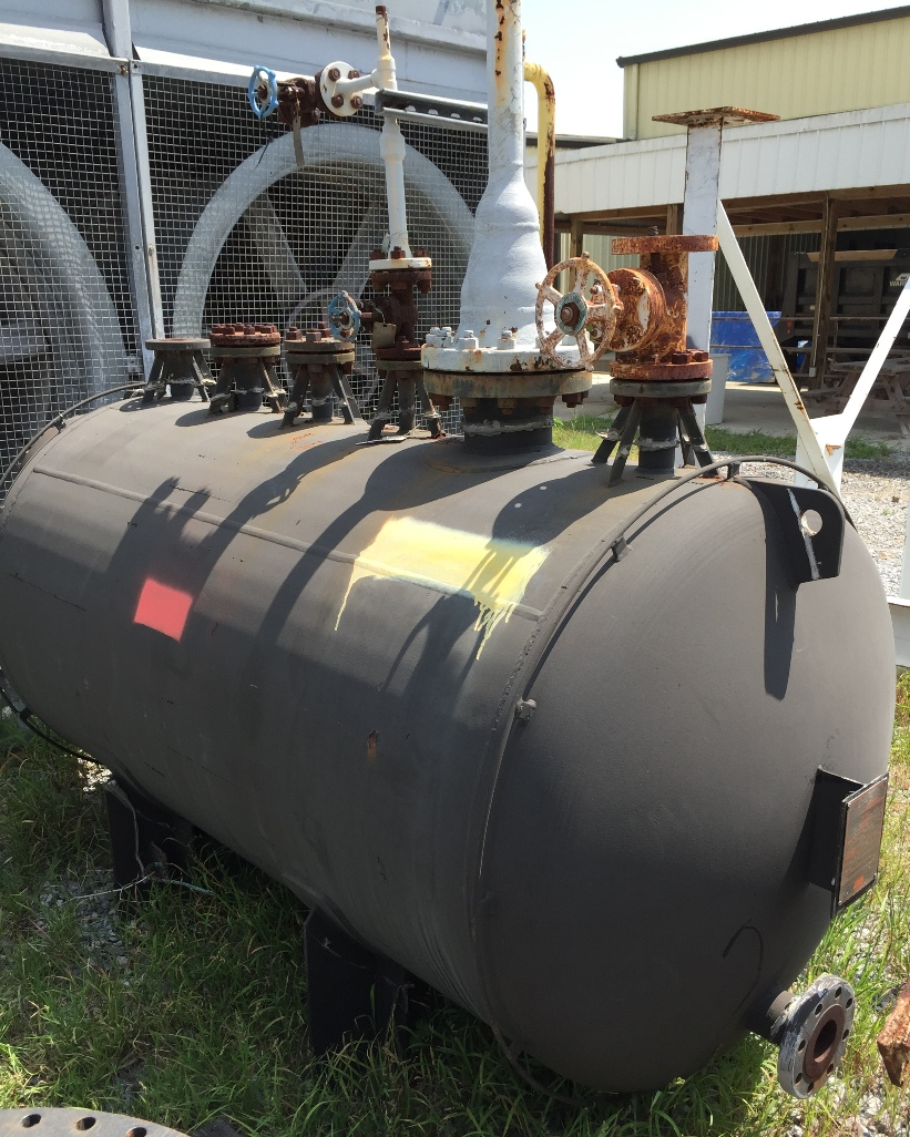 used 530 gallon horizontal pressure vessel rated MAWP-121 PSI @ 300 degrees F.  42