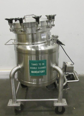 ***SOLD*** used Cherry Burrell 150L (40 Gallon) sanitary vessel with mixer. Serial #: F213-88-1 Electrical: 110V, 60Hz. Vessel:  MAWP: 50psi and vacuum @ 350 Deg.F. MEWP: 15psi @ 350 Deg.F. Motor:  Make: Dayton Model: 2Z846B Speed: 0 to 2500 rpm HP: 3/4. Unit mounted on wheels. Approx. 2' Dia. x 1'6