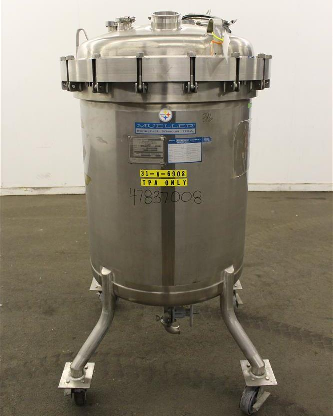 used 113 Gallon (430 Liter) Mueller Model F Stainless Steel Vertical Pressure Tank, S/N P-17146-2 , 316L Stainless Steel, Vertical. 30