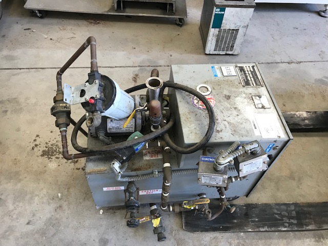 ***SOLD*** used Electro-Steam Generator Corp. model LC-15, S/N 37463, 480 volt steam generator.  15KW. Has 1/4 HP, 115v. motor. Used to generate steam to heat jackets on tanks/kettles. NB # 27463.