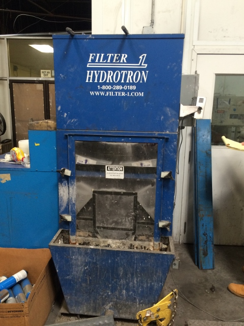 Used Hydroton Filter 1 wet dust collector, Model HWF3-30-5.  Rated at 3000 cfm.   5 hp motor.  88 Gallon capacity.  Dimensions: 82