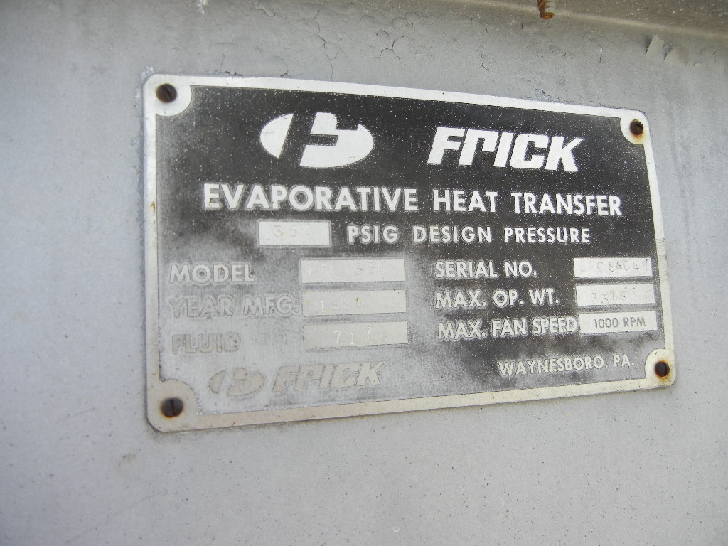 (2) Each used FRICK model Evaporative Coolers/Condensers. Model AFC350. S/N AFC84047 and 48. Rated 50 PSI. Overall dimensions 12\' ht. x 9\'4\