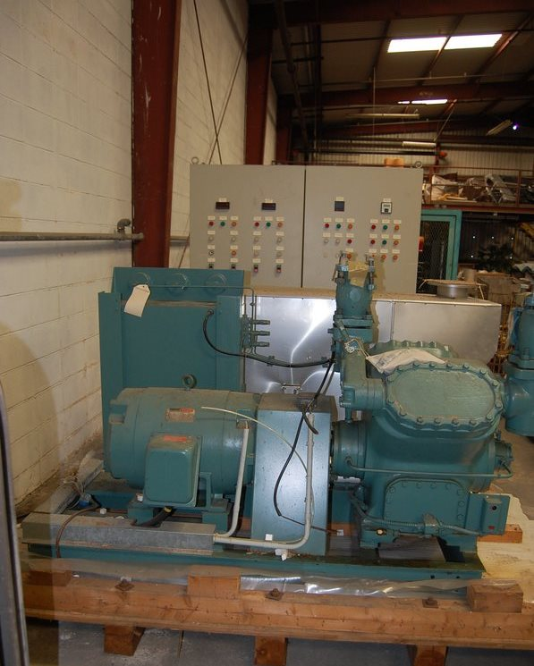 York Chiller Compressor Model RS 44A. High Side PSIG. 450. Low Side PSIG. 330. Reliance Motor: Frame 326T, HP 30, PH. 3, Volts 230/460. Unit Is Complete With Control Panel, Pleum, And Valves. Unit Has Never Been Installed