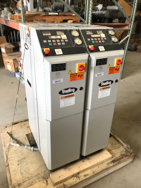(2) used Sterling Model M2B2012D Royal Series TCU (Temperature Control Unit). 36 KW. 480 volt. 150 PSI. Portable Chiller.