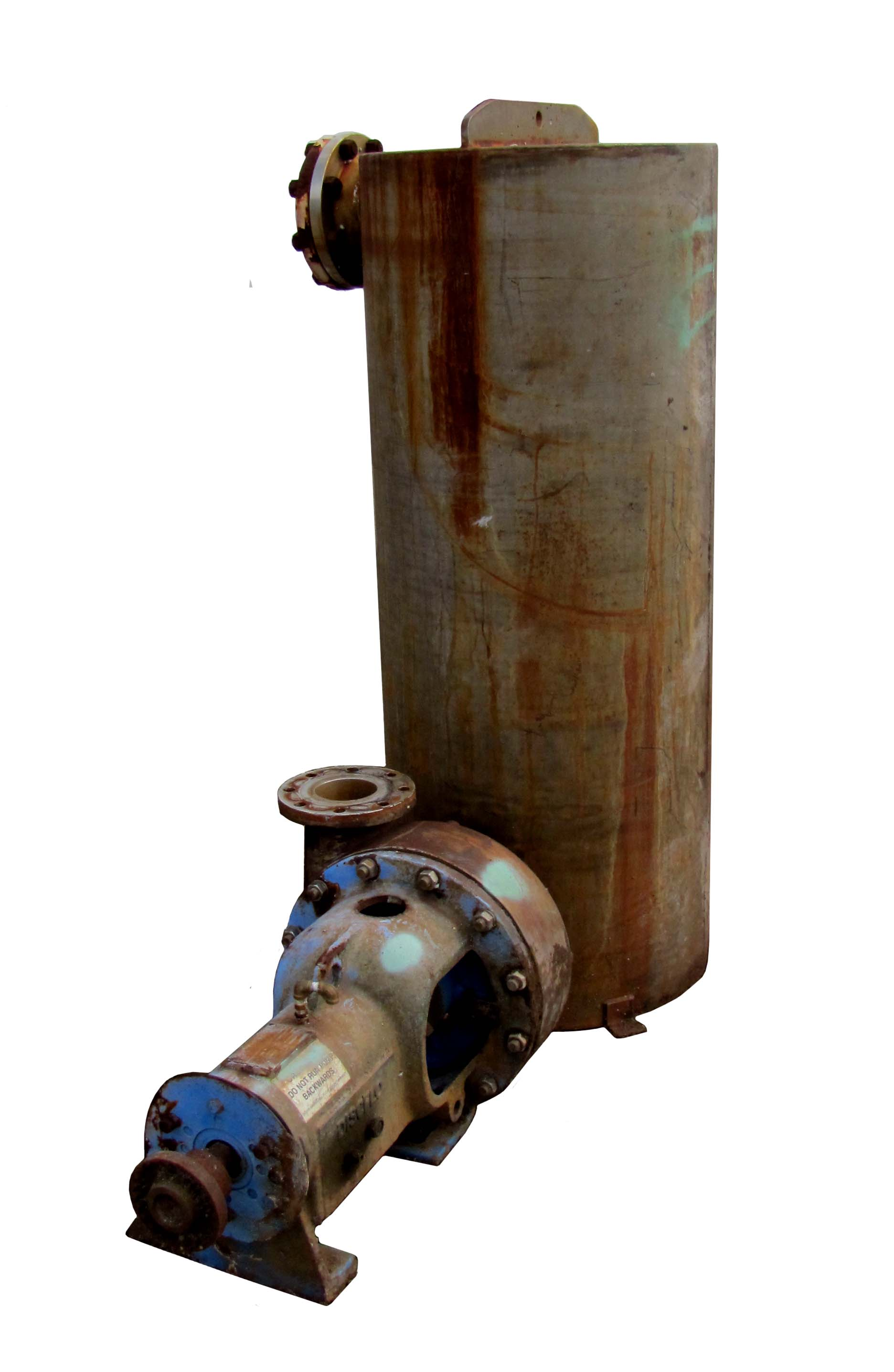 Discflo Corp. Stainless Steel pump with suction pot (2' dia x 5' T/T).  Pump is 6x4 rated 50 GPM.