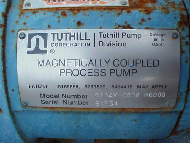 Tuthill 6200 Series magnetically coupled, leak free, seal-less construction and non-pulsing flow process pump.  Ideal for demanding applications such as medical equipment, laboratory equip, chemical metering and more.  Approx. 20 GPM.  1.75\